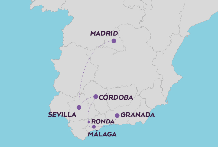 JEWELS OF THE SOUTH OF SPAIN MAP